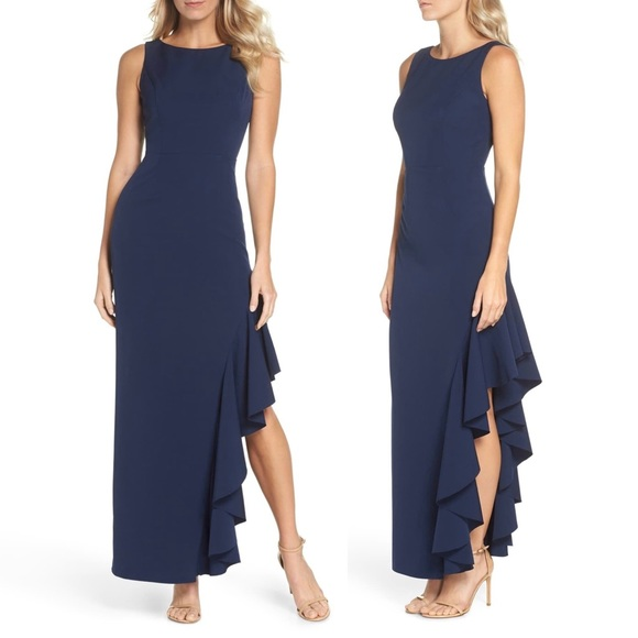Vince Camuto Dresses | Vince Camuto Ruffled Slit Gown | Poshmark